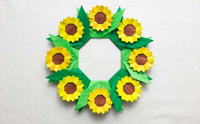 花 リース 折り紙
